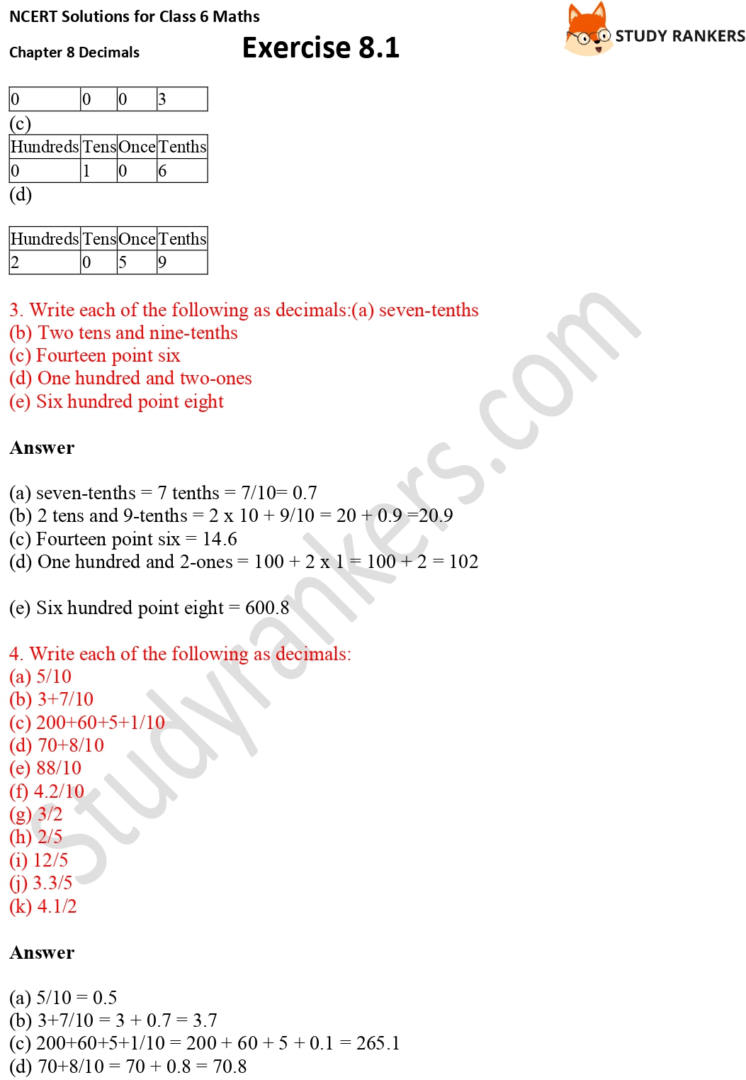 NCERT Solutions for Class 6 Maths Chapter 8 Decimals Exercise 8.1 Part 2
