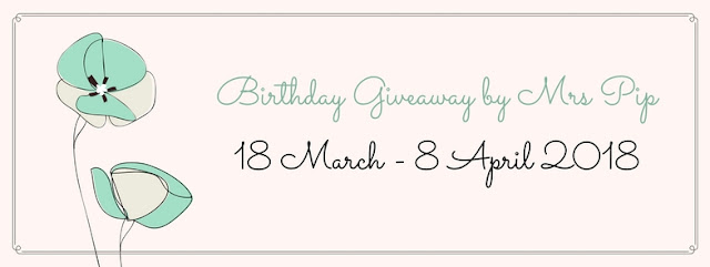 Birthday Giveaway by Mrs Pip, Blogger Giveaway, Peserta, Pemenang, Hadiah,
