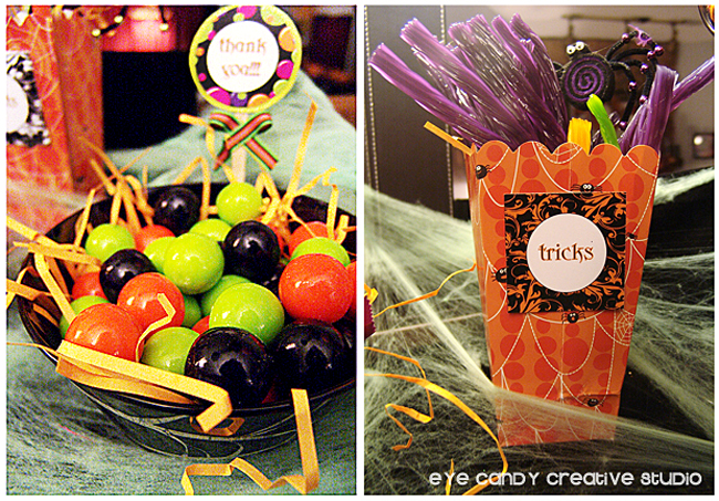 halloween party candy bar treats, gumballs, halloween licorise