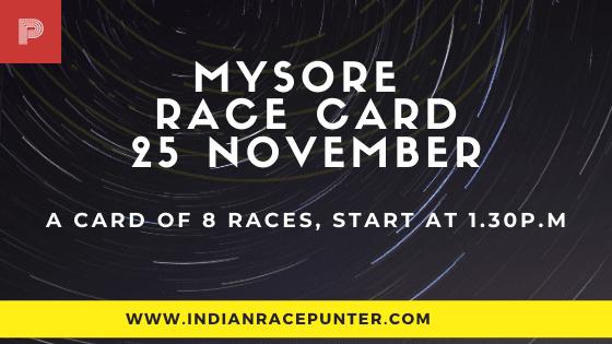 Mysore Race Card 25 November, Race Cards