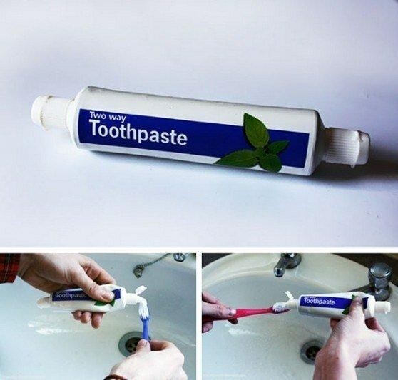pasta de dientes de doble cara