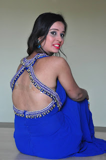 Actress Aaleesha Picture Gallery in Blue Long Dress at Bangla Lo Alajadi Movie Opening  0011.jpg
