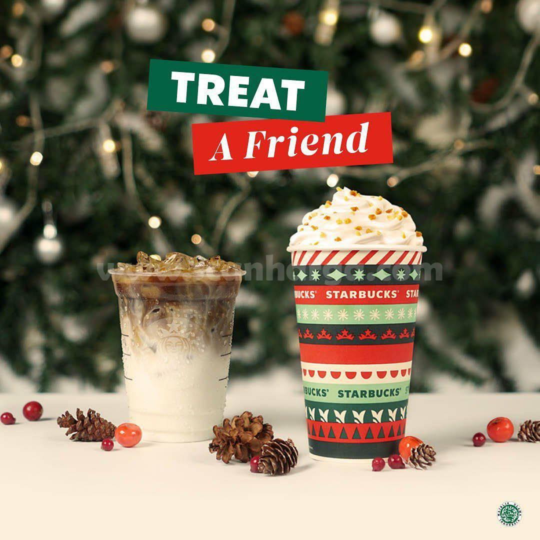 Starbucks Treat A Friend Diskon 50% untuk 2 Minuman menggunakan Kupon Line