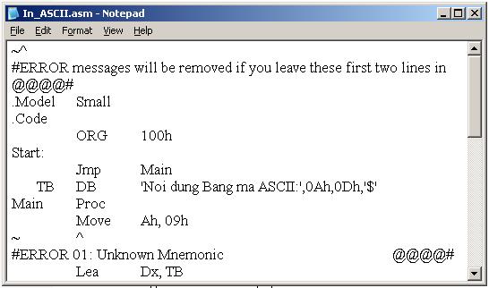 Biên dịch chương trình Assembly chạy trên môi trường hệ điều hành 16 bit