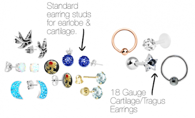 Note If Your Cartilage Piercing Is Done With A Gun It Will Most Likely Be 22 Gauge You Want To Look At Standard Size Earring