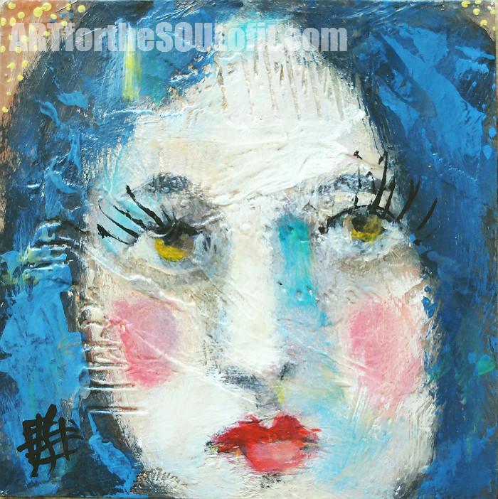 Misty original acrylic painting on wood, portrait