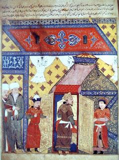Marco Polo visitando al ilkán de Persia.