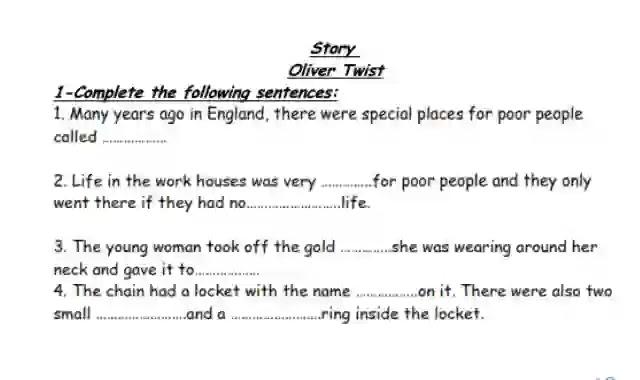 شيتات اسئلة واجابات بالترجمة على قصة Oliver Twist