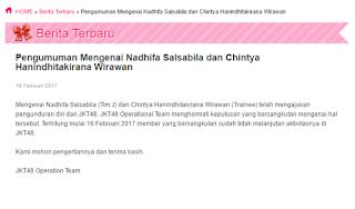 Nadhifa Salsabila dan Chintya Wirawan Resign Dari JKT48