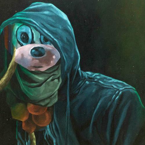 Tinuku Wedhar Riyadi bring Mickey Mouse in latest paintings during an group exhibition at Ark Galerie Yogyakarta