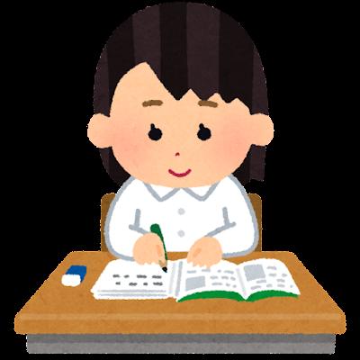 机で勉強をする生徒のイラスト(制服女子)