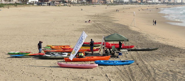 Legend Kayaks display on Durban Beach, Ushaka Marine World