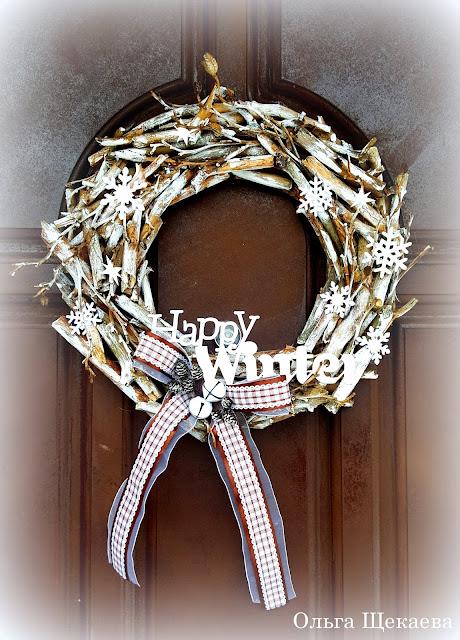 венок, зимний, надверь, декор, новогодний, украшение