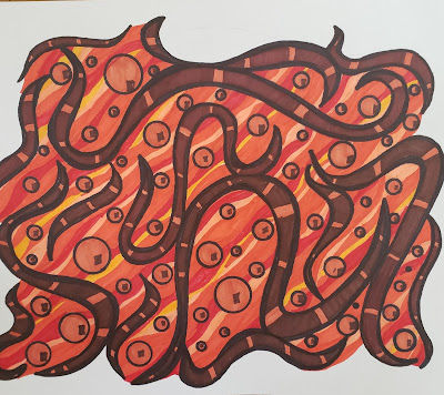 A pen and ink doodle meditation in oranges and browns and a blurb about coprolites, snakes, and other things edible.