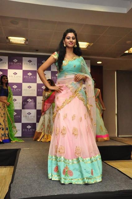Shamili Latest Hot Glamourous Pink Transparent Saree PhotoShoot Images At Hi Life Exhibition Curtain Raiser 2016