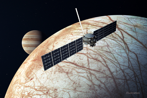An artist's concept of NASA's Europa Clipper spacecraft (with its design updated by mission planners late last year) flying above Jupiter's icy moon Europa.