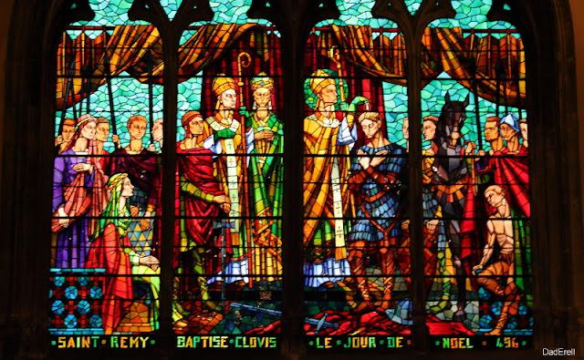 Le Baptême de Clovis, vitrail de l'église Saint Bonaventure, Lyon