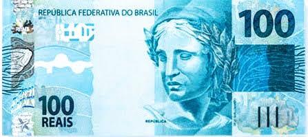 A foto mostra a cédula de R$ 100 do real do Brasil. Atualmente perdeu o poder aquisitivo em razão da crise econômica.