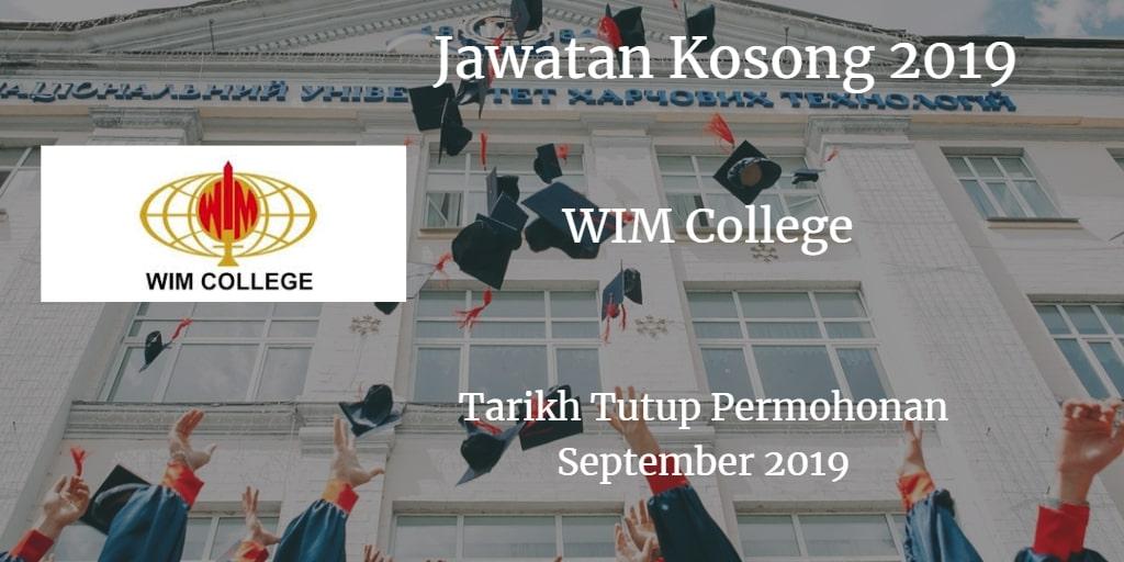 Jawatan Kosong WIM College September 2019