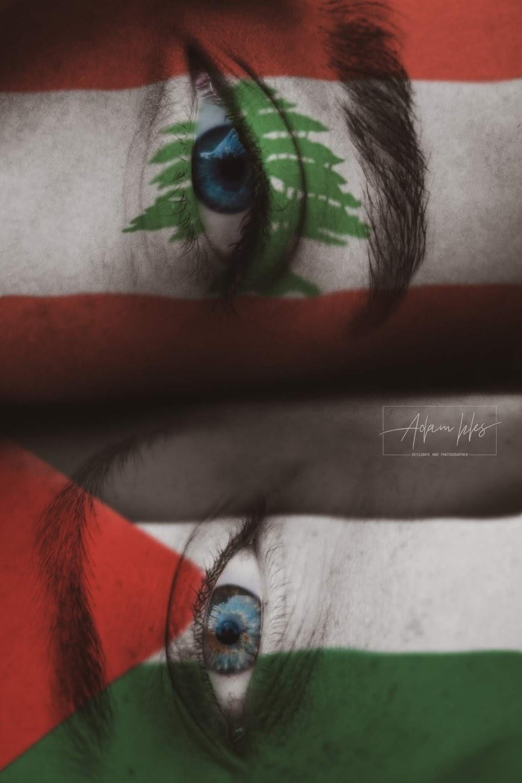 علم لبنان وعلم فلسطين