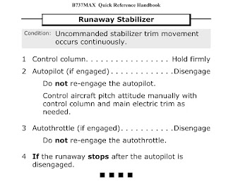 emergency checklist to be used for a runaway stabilizer trim malfunction