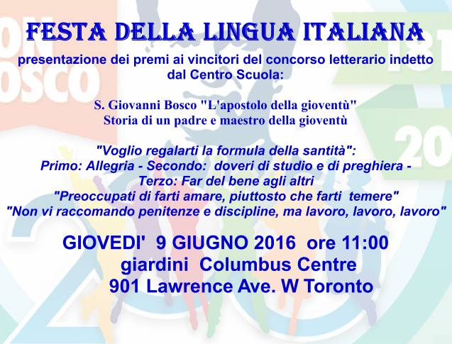 Centro Scuola E Cultura Italiana Toronto Festa Della Lingua Italiana 9 Giugno