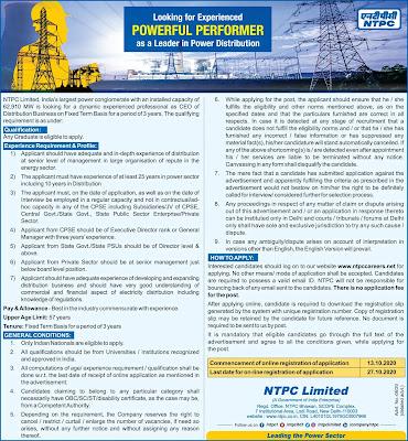 NTPC Looking For CEO (Top Jobs) (#eduvictors)(#jobs)