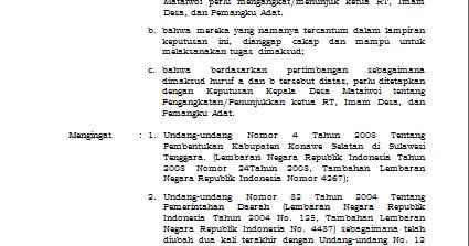 contoh sk pengangkatan rt imam desa dan tokoh adat
