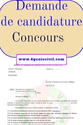 Exemple de Demande de Candidature Au Concours PDF