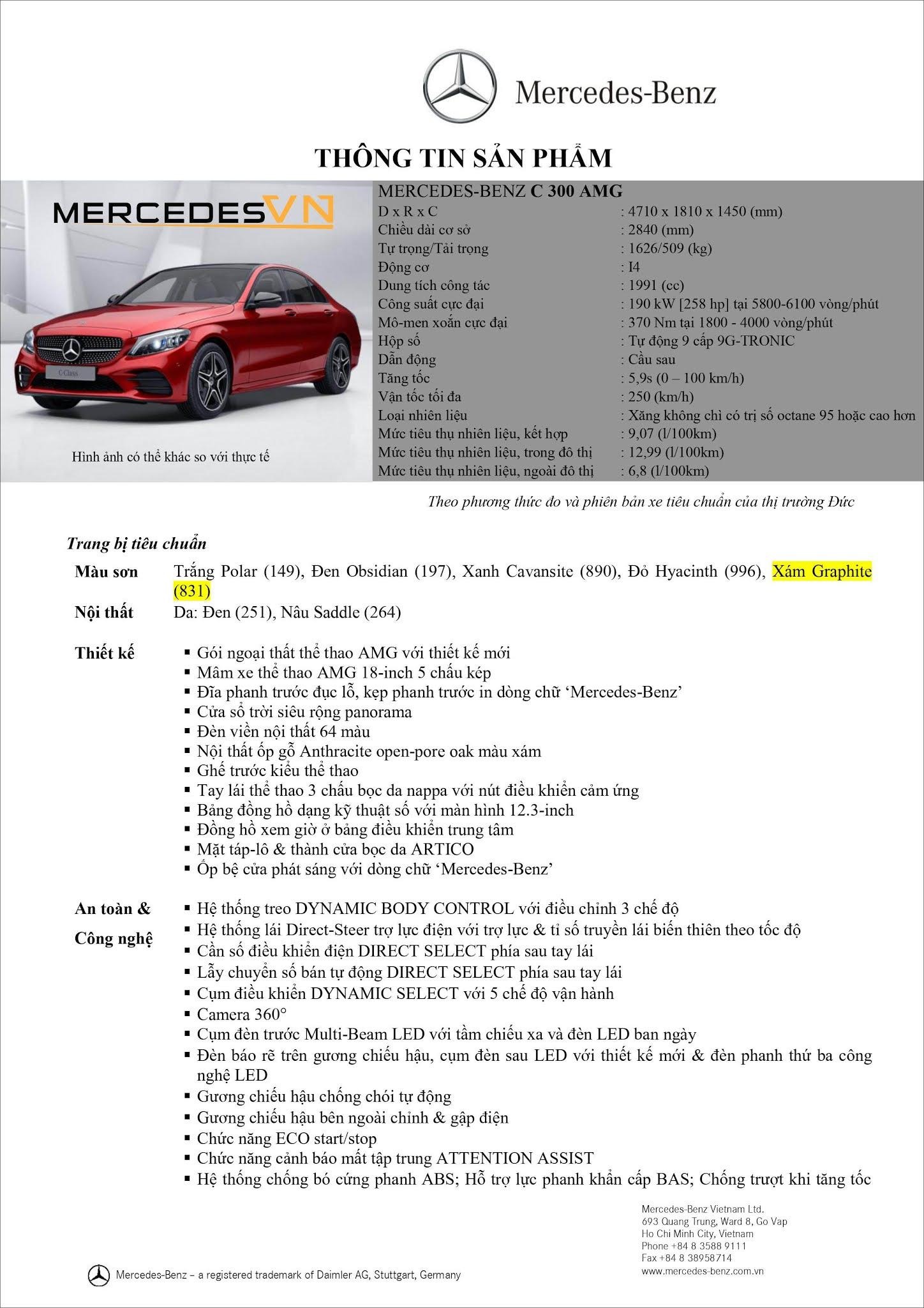 Bảng thông số kỹ thuật Mercedes C300 AMG 2021