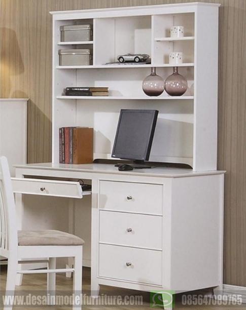 Set meja komputer minimalis multifungsi cat duco putih
