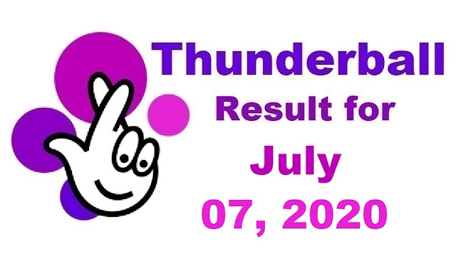 Thunderball Results for Tuesday, July 07, 2020