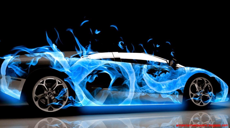 Car Flames: Lamborghini Blue Flame Wallpaper