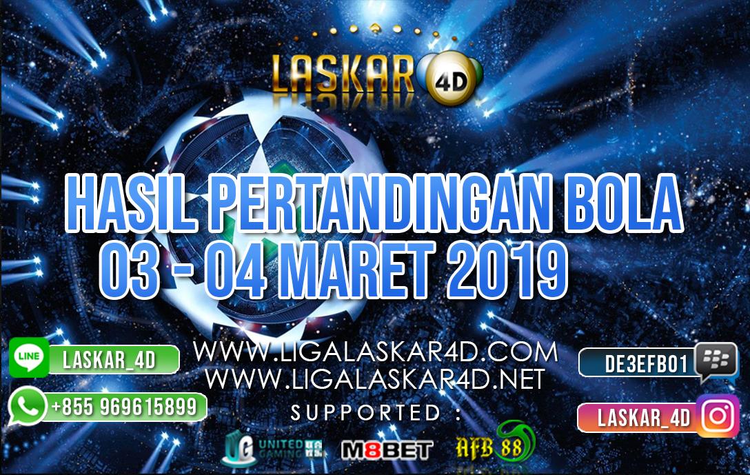 HASIL PERTANDINGAN BOLA 03 – 04 MARET 2019