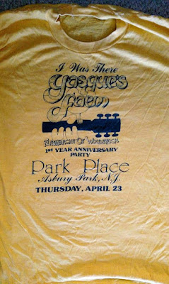 Yasgur's Farm t-shirt at Park Place rock club in Asbury, New Jersey