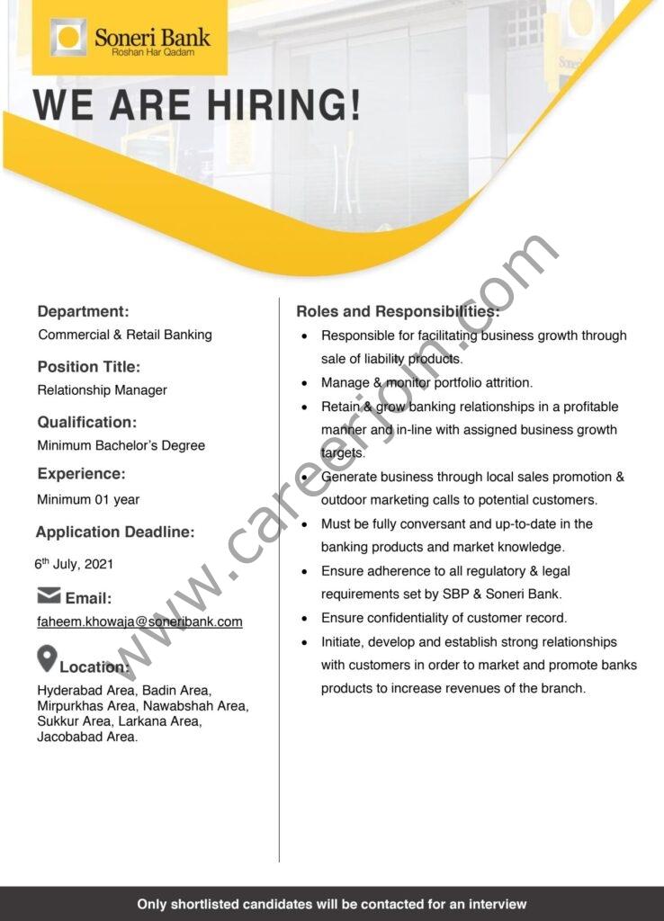 Soneri Bank Ltd Jobs Relationship Manager