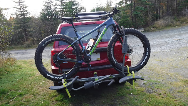 Exploring unfamiliar terrain with a Fat Bike.  Ithaqua 2S on Swagman Rack on Jeep Patriot