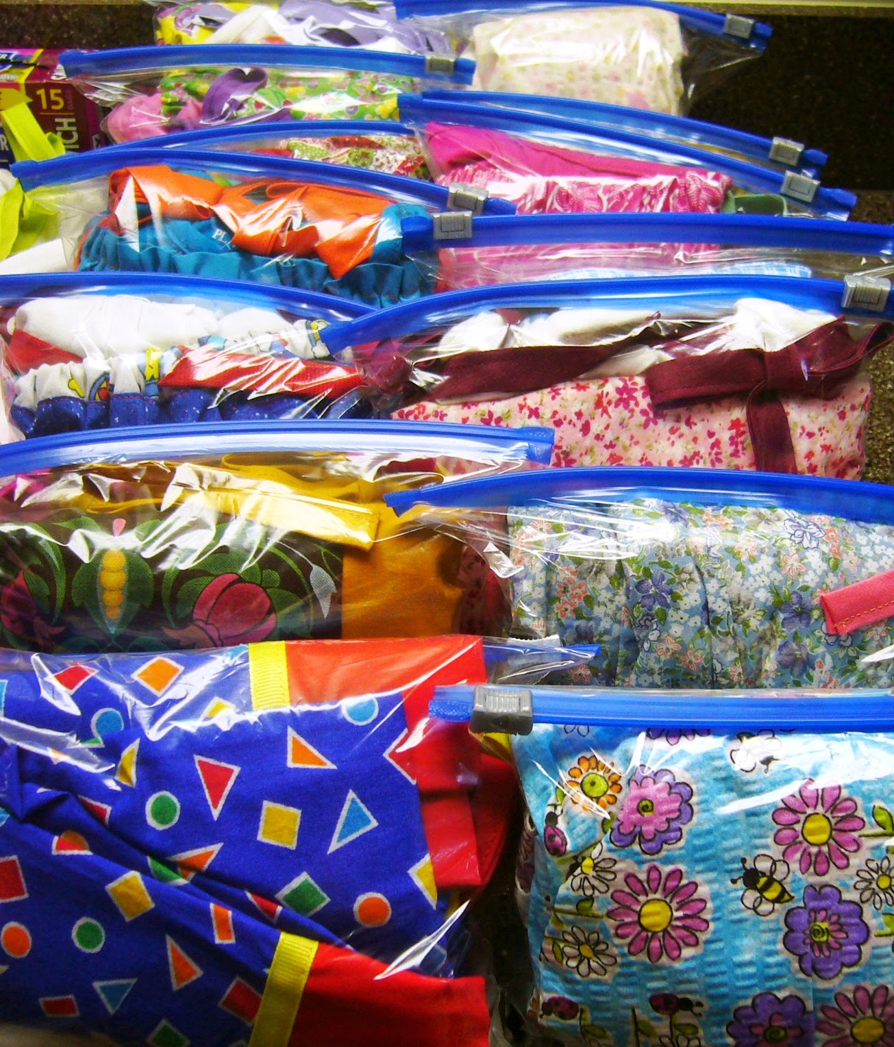 Dresses packed for Operation Christmas Child shoeboxes.