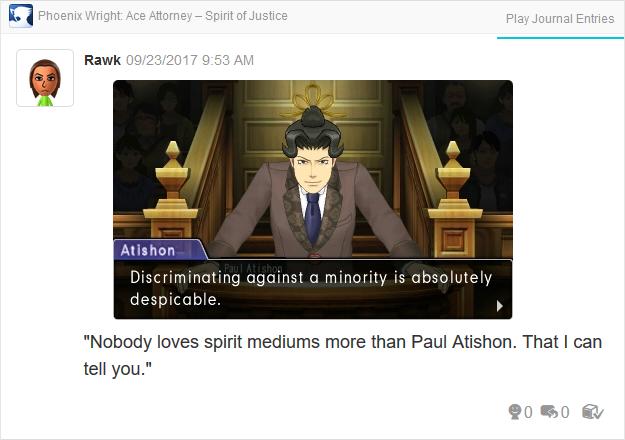 Phoenix Wright Ace Attorney Spirit of Justice Paul Atishon discriminating minority