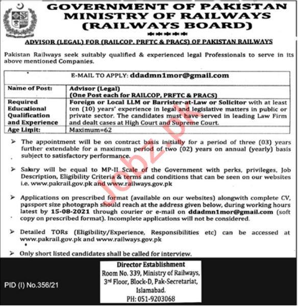 Latest Ministry of Railways Legal Posts Islamabad 2021