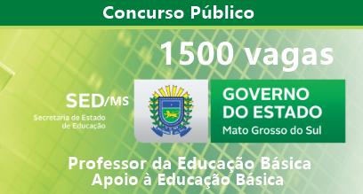 Concurso SED-MS 2018: Autoriza 1500 vagas para Carreira Profissional