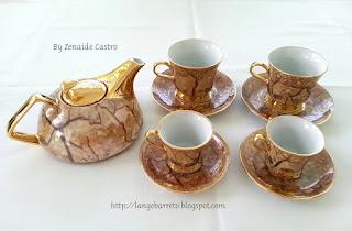 Conjunto porcelana para café pintado a mão