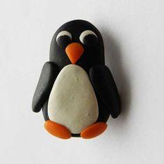 Penguin brooch pin in clay