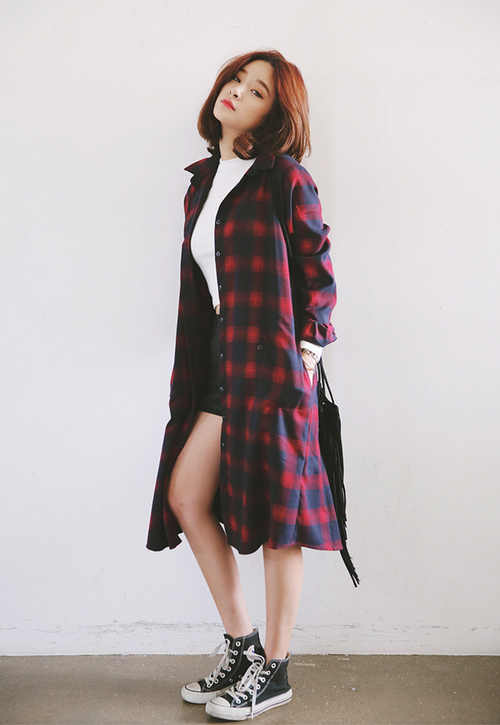 Stylenanda Tartan Shirt Dress Kstylick Latest Korean