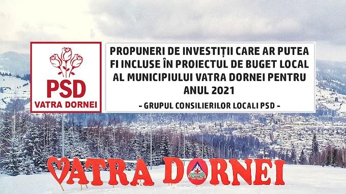 Consilierii Locali PSD Vatra Dornei au făcut o serie de propuneri de investiții pe care actuala administrație le-ar putea include în bugetul local