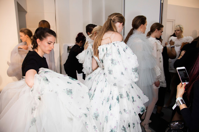 Backstage Giambattista Valli Couture fall 2016 Paris Fashion Week.
