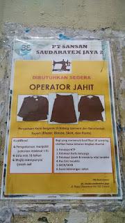 Lowongan Kerja PT Sansan Saudaratex Jaya