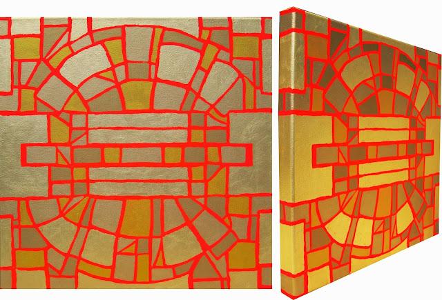 Hamburg Kunst Malerei, Leinwandbilder Acryl und Gold, abstrakte Bilder