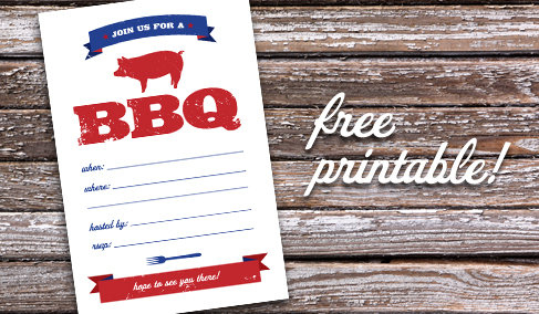 FREE Printable BBQ invitation.