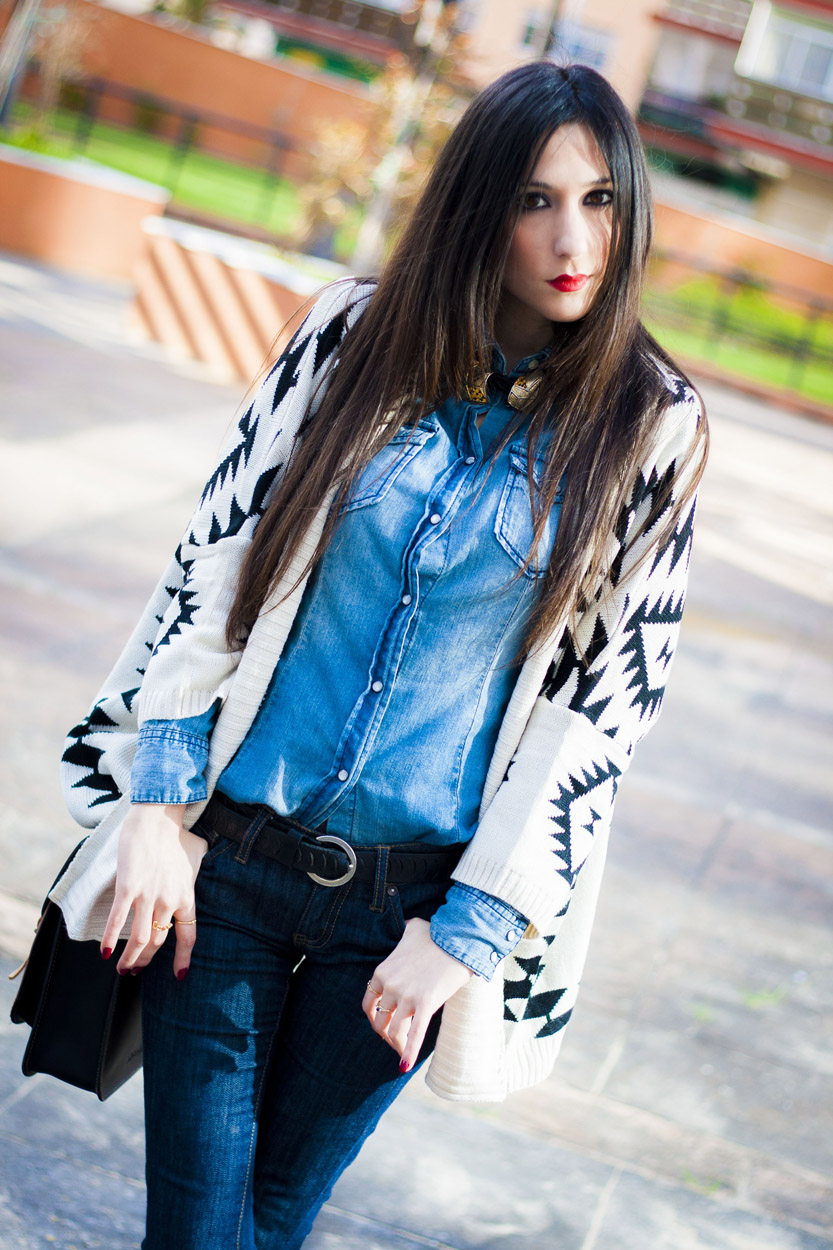 Aztec cardigan and Denim